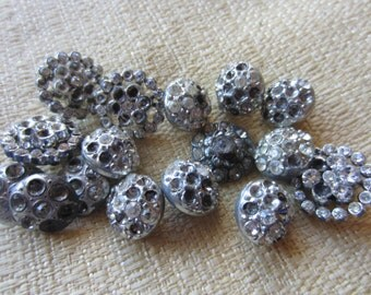 Vintage Button - Shabby Chic lot of rhinestone buttons, missing stones, antique silver metal lot of 16(feb 114b)