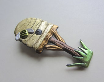 Bumble Honey Bee Hive Pin Brooch