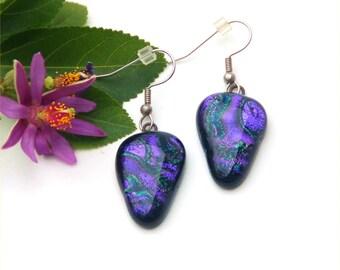 40 Fused dichroic glass earrings,triangle shape, swirly purple