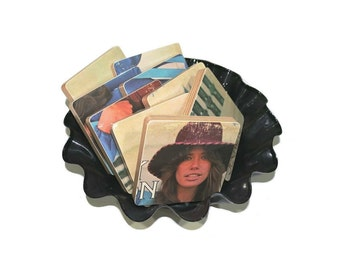 Carly Simon recycled No Secrets album cover wood based coasters with vinyl record bowl