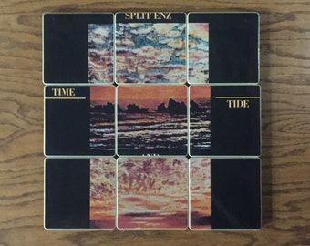 Split Enz handcrafted from recycled Time and Time music album wood coasters and vinyl record bowl