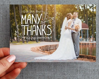 "50+ Wedding Thank you card, postcard, hand lettering, bohemian, ""Alana Style"""