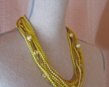 Vintage 13 Strand Bright Yellow Plastic  Beaded 1960's Necklace