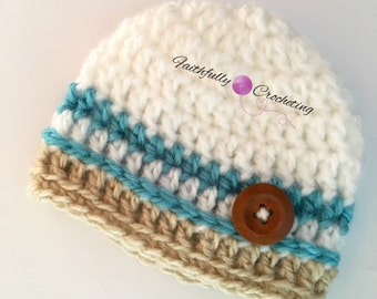 Newborn boy hat.. Chunky beanie.. Photography prop... Ready to ship