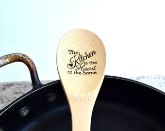 Wooden Spoon Personalized Engraved Bamboo Wood Spoon Cooking Utensil Kitchen Tool the kitchen is the heart of home Grandma Gift Foodie Gift