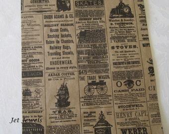 Paper Bags, Gift Bags, Newspaper Bags, Newspaper Print, Newsprint Bags, Merchandise Bags, Rustic Wedding, Vintage Style 8.5x11 Pack 25