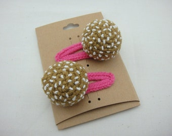 FREE SHIPPING Crochet Snap Clip Hair Accessories - Sesame Ball Dim Sum Chinese Food