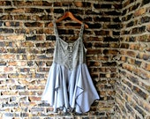 M-L Embroidered Gray Bohemian Lace Up Reconstructed Tank Top Tunic// Upcycled Spring Summer// emmevielle