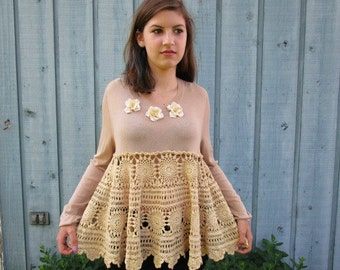 M-L Tea Stained Crochet Knit Cropped Top// Long Sleeves// Upcycled// emmevielle
