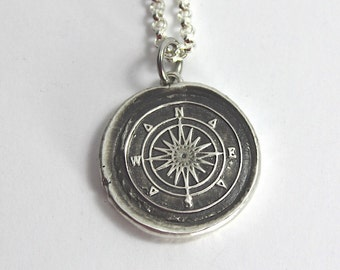Silver Compass Necklace Vintage Inspired Pendant - Fine Silver Wax Seal Necklace - Travel Necklace Direction Charm Christmas Gift