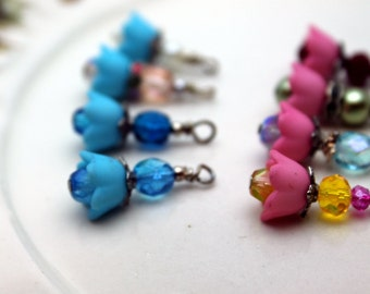8 Piece Baby Bell Lucite Flower Bead Dangle Charm Drop Sets In Pink and Blue