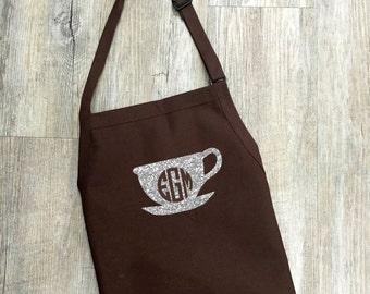 Women's Glitter Coffee Mug Apron with Monogram, Monogram Glitter Coffee Mug Apron, Glitter Coffee Mug, Coffee Mug, Coffee Apron, Glitter