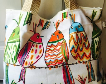 Bird tote, spring tote, summer tote, monogrammed tote, tote, bag, tote bag, personalized tote, personalized bag, summer bag, large tote,