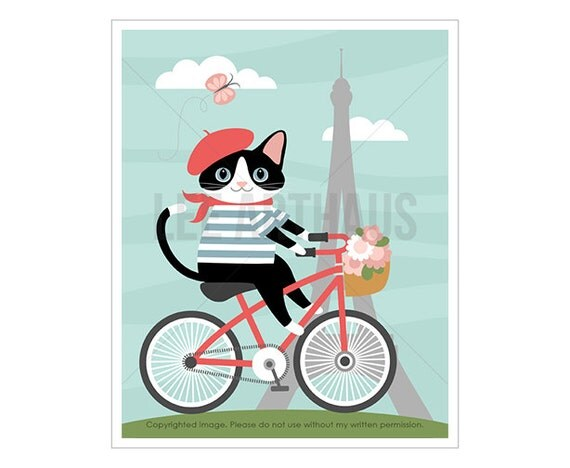 34F Cat Art Print - Girl Cat on  Bicycle Wall Art - Baby Girl Prints - Paris Nursery Decor - Cat Drawing - Eiffel Tower Print - Cat Prints