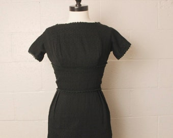 Vintage 1950's 1960's Black Cotton Wiggle Dress Maggie Stover S