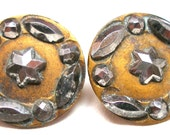 1800s BUTTONs, 2 Victorian Cut Steel with stars.