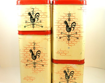 50's Kitchen Canisters, Rooster weather vane in yellow, red, black, Harvell Space Saver, made in USA. Set of 4.