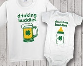 Twins St. Patrick's Day One Piece Bodysuit, Drinking Buddies, T-Shirt, Baby Shower Gift, St. Patty's Day, Twin Set, Set of Two