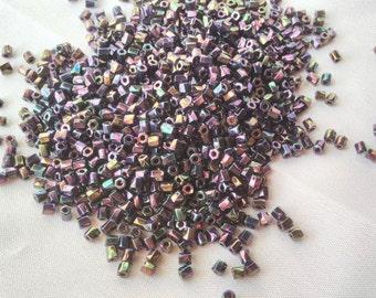10/0 Cut Twisted Hex Met Dk Plum Iris seed bead, 10 gram bag, Miyuki color# 10c-TW-454