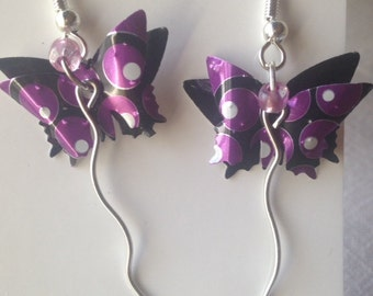 butterfly can earrings