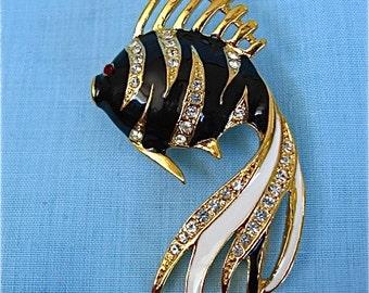 Vintage Enamel Fish Pin