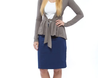Grey Knit Wrap Cardigan
