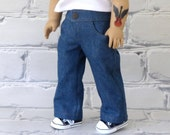 18 inch Boy Doll Denim Blue Jeans with Pockets, snap front waistband and open fly, American Boy Doll Jeans