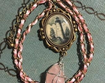 Pink Ribbon Lighthouse Necklace