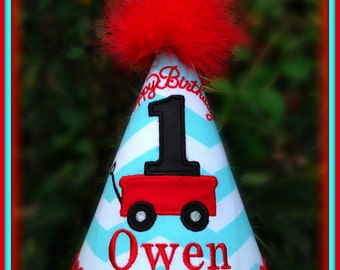 Little Red Wagon First Birthday Hat,  Little Red Wagon 2nd Birthday Hat,  You Choose Colors, by Gingham Bunny