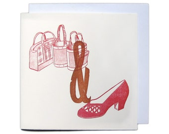 Letterpress Woodblock Greetings Card - Bags and Shoes