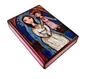 Our Lady of Belen - ACEO Giclee print mounted on Wood (2.5 x 3.5 inches) Folk Art  by FLOR LARIOS