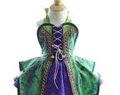 Children's Hocus Pocus Green Witch Apron - for kids - Cute Girls Halloween Witch Costume Apron for Dress Up & Play