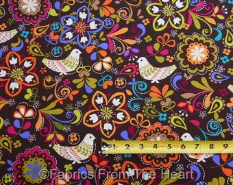"""Birds of Norwary on Expresso 58"""" inch wide BY YARDS Michael Miller Cotton Fabric"""