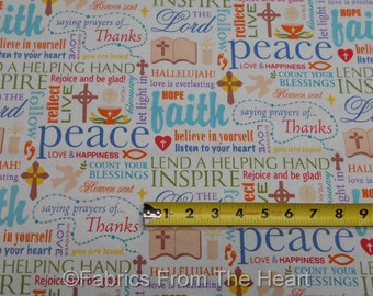 Words of Faith Heaven Sent Peace Rejoice Thanks  BY YARDS Springs Cotton Fabric