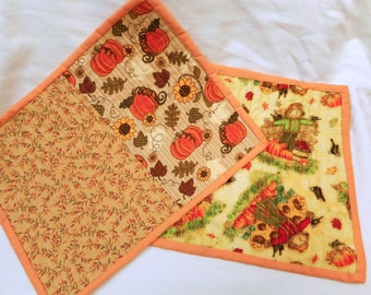 Fall Mug Rug, Snack Mat, Computer Mouse Pad, Set of Two, Quiltsy Handmade