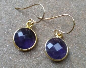Bezelled Amythest Gemstone on Gold Filled Earwires