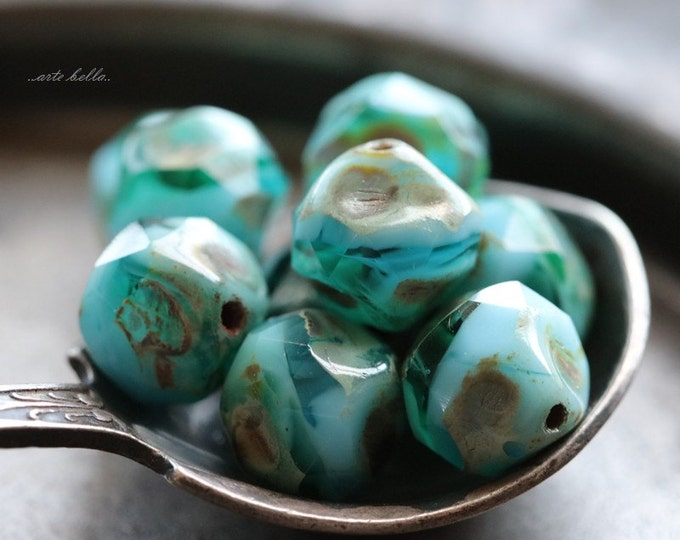 sale .. OCEANIC NUGGETS .. 10 Czech Picasso Baroque  Glass Beads 8mm (5163-10)