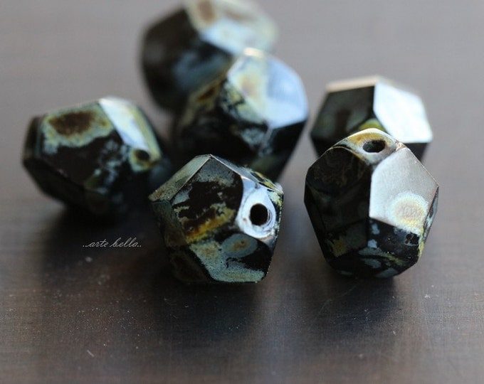 MIDNIGHT NUGGETS .. 6 Premium Picasso Czech Faceted Glass Beads 9-10mm (4958-6)