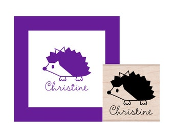 Hedgehog Girl Personalized Rubber Stamp