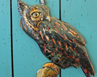 Screech Owl - copper metal raptor bird sculpture - wall hanging - with verdigris blue-green patina - OOAK