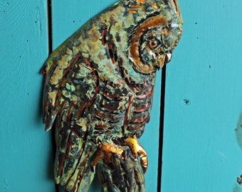 Long-eared Owl - copper metal raptor bird sculpture - wall hanging - with verdigris blue-green patina - OOAK