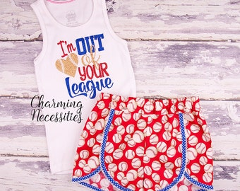 I'm Out of Your League Top and Shorts Set, Baseball Fan Sister, Baby Girl, Toddler Girl Clothes, Baby Girl Outfits, by Charming Necessities