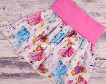 SALE Yoga Waist Skirt in Favorite Princesses PINK by Charming Necessities Fold Over Waist Twirl Skirt Toddler Girl Boutique Clothing