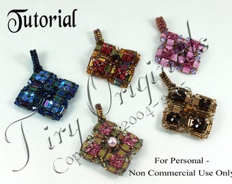 KR015 TUTORIAL - Patchwork Pendant - It's Reversible! - Color Kit - Includes Instructions, Beadweaving Pattern Instructions