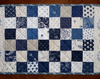 Quilted Table Runner, Dresser Scarf, Blue and White, Hand Embroidered
