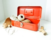 Red Metal Tool Box - Craft Storage - Art Supplies