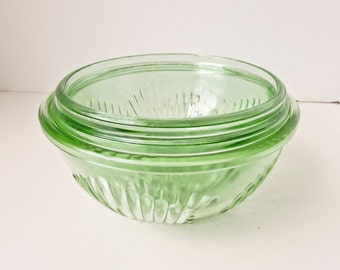 Depression Glass Mixing Bowl Set 3 Bowls Vaseline Green