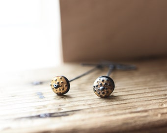 Pod Dangle Earrings, Keum Boo Earrings, Oxidized Gold Dangle Earrings, Woodland, Wedding, Minimalist, Modern, Nature Jewelry,
