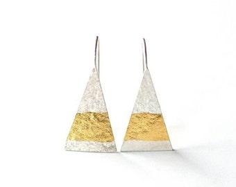 Sterling Triangle Earrings, Triangle Earrings, Geometric Earrings, Keum Boo Earrings, Sterling Earrings, Modern Tribal, Minimalist