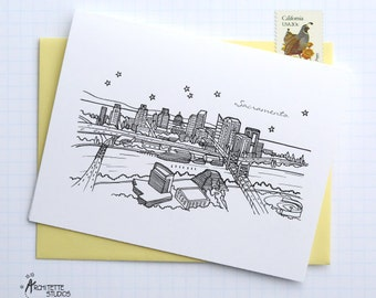 Sacramento, California - United States - City Skyline Series - Folded Cards (6)